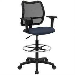 Mid Back Mesh Drafting Chair in Navy Blue