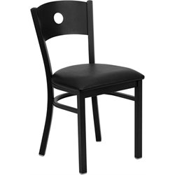 Flash Furniture Hercules Circle Back Metal Dining Chair in Black