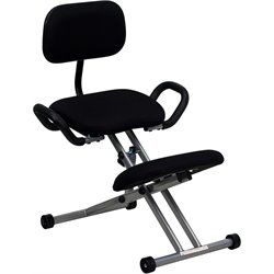 Flash Furniture Ergonomic Kneeling Chair in Black Fabric
