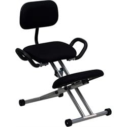 Flash Furniture Ergonomic Kneeling Office Chair in Black Fabric