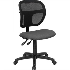 Mid-Back Mesh Task Office Chair with Gray Fabric Seat