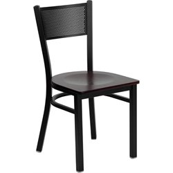 Flash Furniture Hercules Black Back Metal Dining Chair in Mahogany