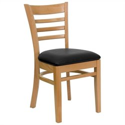 Flash Furniture Hercules Series Restaurant Upholstered Chair in Natural Wood and Black