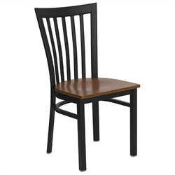 Flash Furniture Hercules Black Back Metal Dining Chair in Cherry