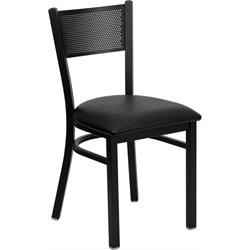 Flash Furniture Hercules Series Metal Dining Chair in Black Vinyl
