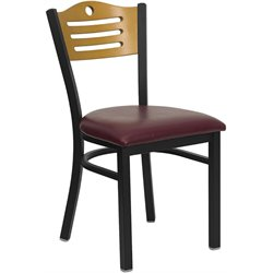 Flash Furniture Hercules Black Slat Back Dining Chair in Burgundy