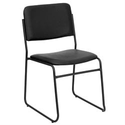 Flash Furniture Hercules Series Stacking Chair with Sled Base in Black
