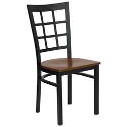 Flash Furniture Hercules Black Window Back Dining Chair in Cherry