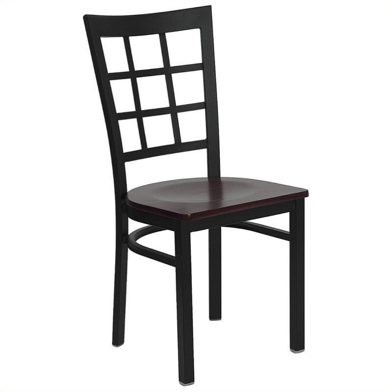 Flash Furniture Hercules Black Window Back Dining Chair in Mahogany