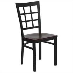 Flash Furniture Hercules Series Black Window Back Chair in Mahogany