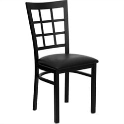 Flash Furniture Hercules Window Back Metal Dining Chair in Black