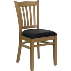 Flash Furniture Hercules Vertical Slat Back Dining Chair in Black