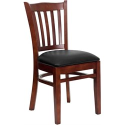 Flash Furniture Hercules Vertical Slat Back Dining Chair in Mahogany