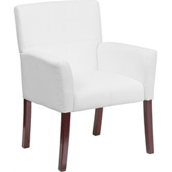Flash Furniture Leather Executive Side Chair in White and Mahogany