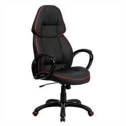 Flash Furniture High Back Vinyl Office Chair in Black and Red