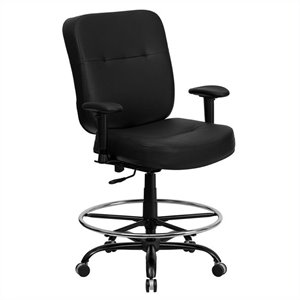 Leather Drafting Chair with Arms in Black