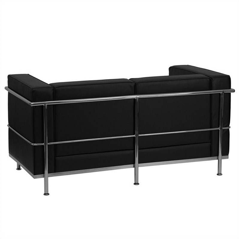 Leather Love Seat in Black
