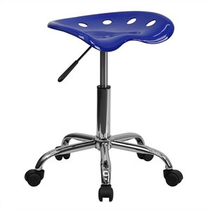 Chrome Stool in Blue