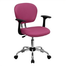 Flash Furniture Mid-Back Mesh Task Chair with Arms in Pink