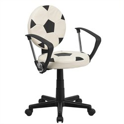 Soccer Task Office Chair with Arms in Black and White