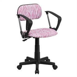 Flash Furniture Pink and White Zebra Print Computer Chair with Arms