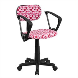 Flash Furniture Pink Dot Printed Computer Chair with Arms in White