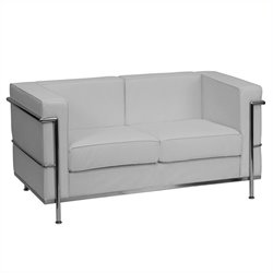 Flash Furniture Hercules Regal Series Leather Love Seat in White