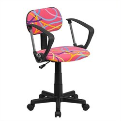 Multi-Colored Swirls Computer Office Chair with Arms in Pink