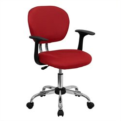 Flash Furniture Mid-Back Mesh Task Office Chair with Arms in Red