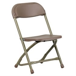 Flash Furniture Kids Plastic Folding Chair in Brown