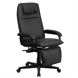 High Back Leather Reclining Office Chair in Black