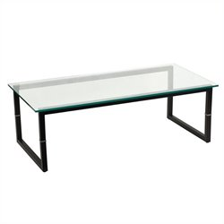 Flash Furniture Glass Coffee Table in Black
