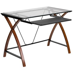 Glass Computer Desk in Black and Cherry