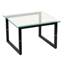 Flash Furniture Glass End Table in Black