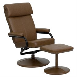 Flash Furniture Palomino Leather Recliner and Ottoman in Brown