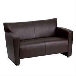 Leather Love Seat in Brown