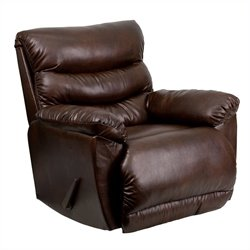 Bonded Leather Rocker Recliner in Espresso