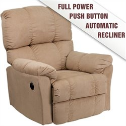 Flash Furniture Top Hat Microfiber Power Recliner in Tan Coffee