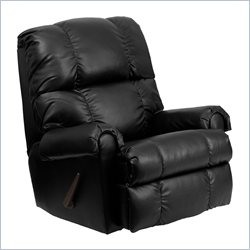 Flash Furniture Apache Leather Rocker Recliner in Black