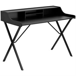 Computer Desk with Top Shelf in Black