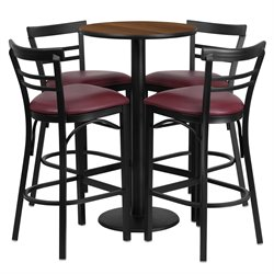 Flash Furniture 5 Piece Round Laminate Table Set in Walnut and Black