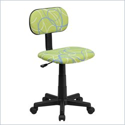 Flash Furniture Blue and White Swirl Printed Computer Chair in Green