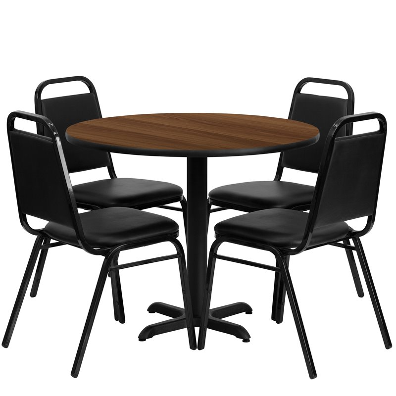 Flash Furniture 5 Piece Laminate Table Set in Black and Walnut
