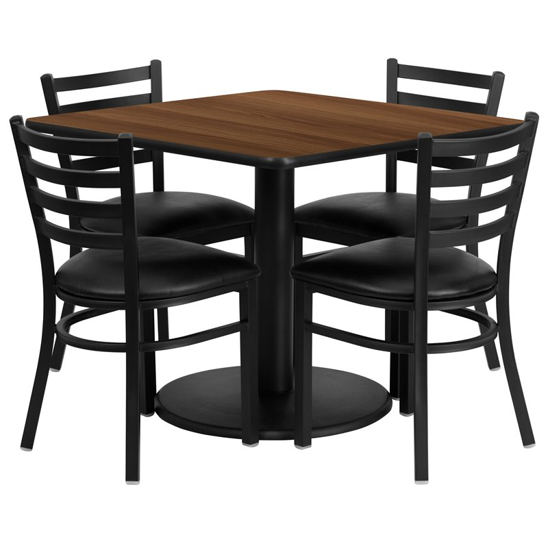 5 Piece Square Laminate Table Set in Black and Walnut