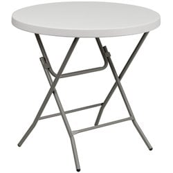 Round Granite Plastic Folding Table in White