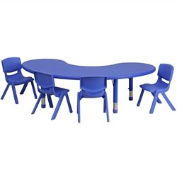 Flash Furniture 5 Piece Half Moon Activity Table Set in Blue
