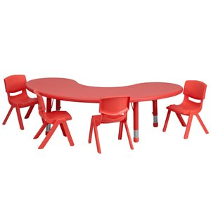 5 Piece Half Moon Activity Table Set in Red