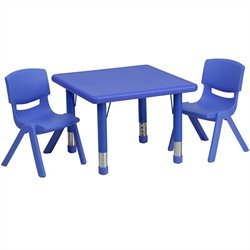 Flash Furntiure 3 Piece Square Adjustable Activity Table Set in Blue