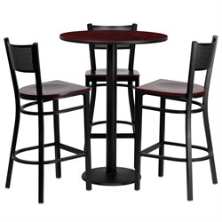 4 Piece Round Table Set in Mahogany and Black