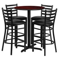 5 Piece Round Table Set in Black and Mahogany